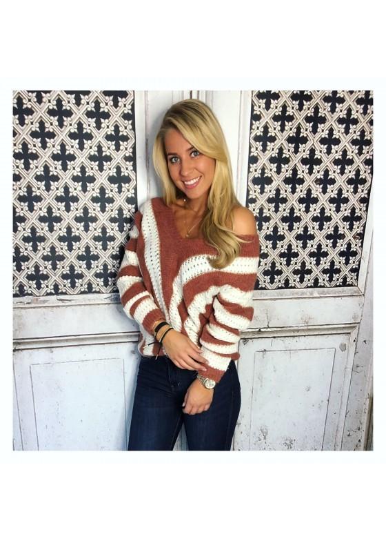 Sweater Brique/white DAYDEAL