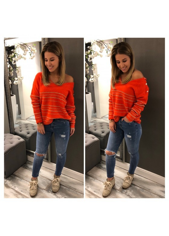 Sweater Button Orange / Gold   / SALE