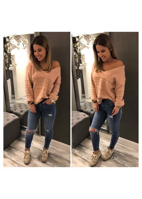Sweater Lightpink / Gold Button  / SALE