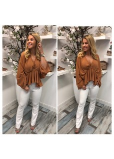 Vlinder blouse brown
