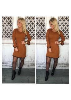 Ruffle Dress Brown DAYDEAL