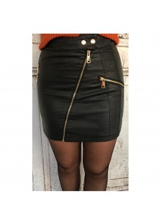 Leather Look Skirt Zip