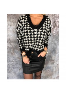 Sweater Black/White Franje DAYDEAL