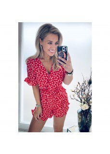 Jumpsuit Red Flowers