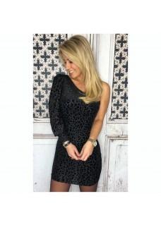 Leopard Dress Oneshoulder Black